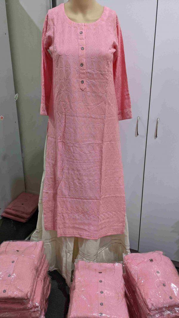Chikankari Kurti - Baby Pink Colour