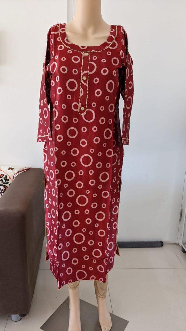 Gaji Silk Kurti - Size 44