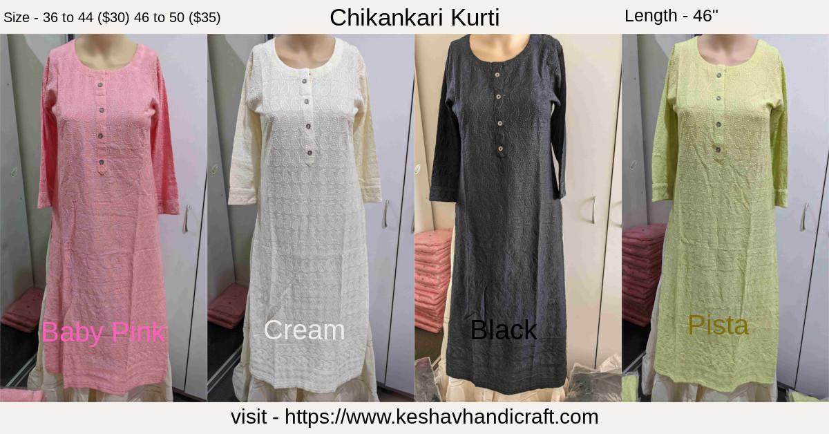Buy Chikankari Kurti Online - Australia. Sizes available 36 to 50. Price range - $35 & $40. Colour - Baby Pink, Cream, Black & Pista